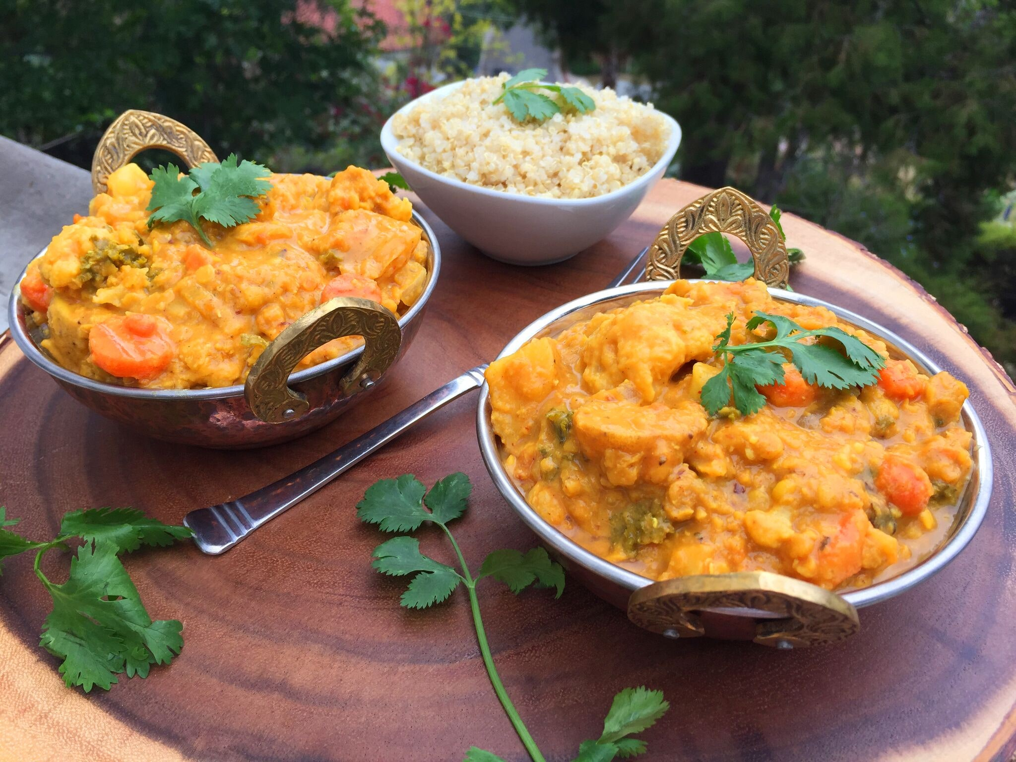 Spicy Vegan Orange-Coconut Vegetable Curry With Red Lentils